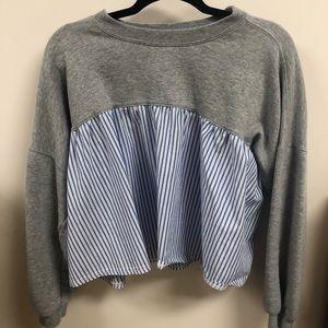 Grey and pin striped sweatshirt